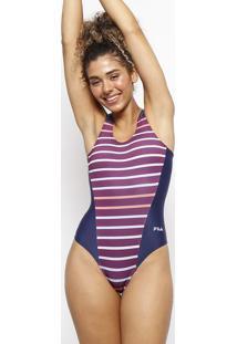 Maiã´ Swimming Listrado Com Recortes - Azul Marinho & Roxfila