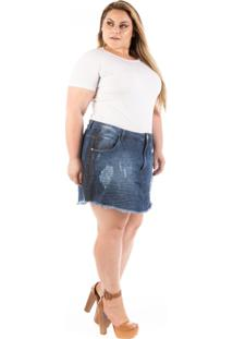 Saia Jeans Curta Destroyed Olaf Plus Size