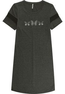 Vestido Manga Curta T-Dress Com Estampa Cinza
