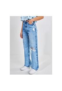Calça Jeans Reta Over Com Rasgo No Joelho