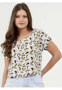 Blusa Feminina Estampa Mickey Minnie Manga Curta Disney