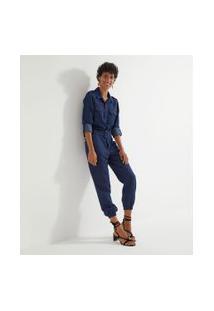 Macacão Jeans Longo Com Cinto   Marfinno   Azul   P