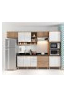 Cozinha Compacta - Aéreos, Armário Para Forno/Micro-Ondas E Balcões Para Pia/Cooktop - Argila/Branco