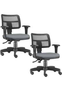 Kit 02 Cadeiras Giratã³Rias Lyam Decor Zip Suede Cinza - Cinza - Dafiti