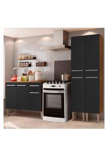 Cozinha Compacta Madesa Emilly Front Com Balcáo E Paneleiro - Rustic/Preto Marrom