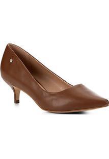 Scarpin Shoestock Salto Baixo Naked - Feminino-Avelã