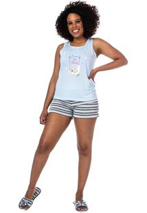 Baby Doll Estampado Regata E Short Curto