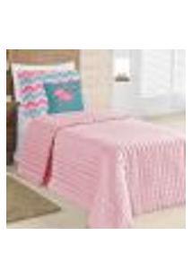 Kit Cobre Leito Solteiro Infantil Rosê 4 Peças 2,20M X 1,60M Com Porta Travesseiro E Almofada Decorativa Estampada