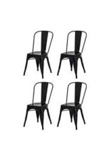 Kit 4 Cadeiras Tolix Iron Design Preta Aco Industrial Sala Cozinha Jantar Bar