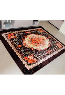 Tapete Aveludado 3D Estampado Floral Marrom Café 1,50Mx2,00M Têxtil Design