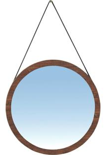 Espelho Redondo Decorativo Melk 65Cm Com Tira De Couro Madeira Maciça Rustic Brown - Gran Belo