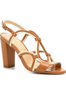 f6e5c2ed6 ... Sandália Couro Shoestock Salto Grosso Bicolor Feminina - Feminino- Caramelo+Off White
