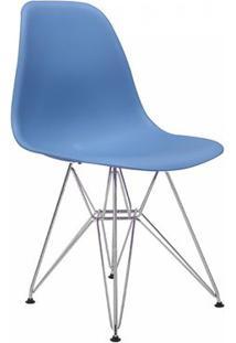 Cadeira Eames Eiffel Rivatti Sem Braço Pp Base Cromada Azul Bali