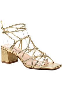 Sandália Couro Shoestock Tiras Salto Médio Feminina - Feminino-Ouro