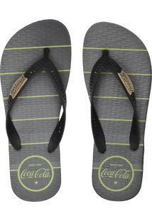 Chinelo Coca Cola Shoes Listrado Preto