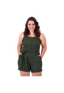 Macaquinho Verde Militar Plus Size Com Cinto E Botões