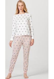 Pijama Feminino Manga Longa Em Algodão Estampado