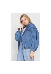 Jaqueta Jeans Colcci Mangas Bufantes Azul