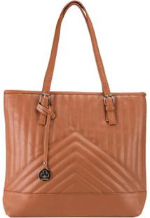 Bolsa Shopping Bag Stz Matelassê Geométrico Caramelo -