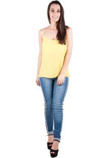 Blusa Banna Hanna Crepe Lisa Vazado Com Alça - Feminino-Amarelo