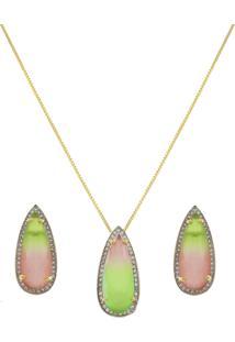 Conjunto Narcizza Semijoias Brinco E Colar Gota Gota Rainbow Cristal Multicollors Verde E Rosa Ouro