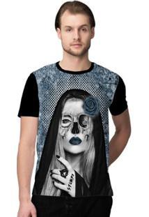 Camiseta Stompy Catrina Skull Masculino - Masculino-Azul+Preto