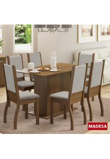 Mesa De Jantar 6 Lugares Greice Rustic/Pérola - Madesa Móveis