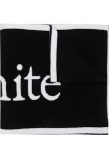 Off-White Cachecol De Lã Com Loog - Preto