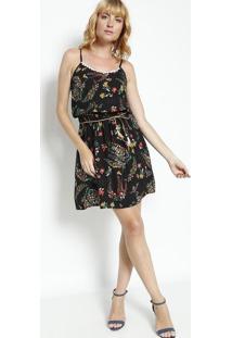 5981dd95f ... Vestido Floral Com Renda - Preto & Vermelho- Bhlbhl