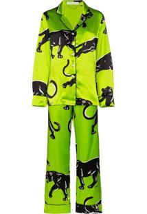 Olivia Von Halle Pijama Lila Hades Com Estampa - Verde