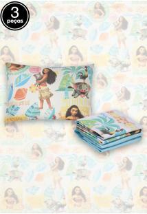 Jogo De Cama Solteiro Infantil Santista Disney Moana 3Pçs Azul