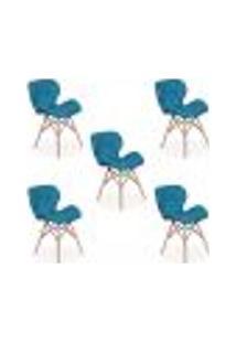 Kit 05 Cadeiras Charles Eames Eiffel Slim Wood Estofada - Turquesa