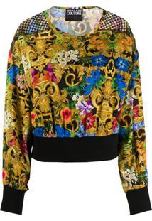 Versace Jeans Couture Blusa Mangas Longas Com Estampa Barroca - Preto