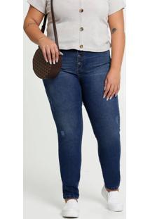 Calça Jeans Puídos Skinny Feminina Plus Size