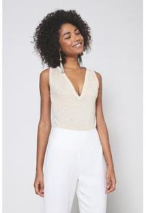 Body Lurex Tricot Oh, Boy! Feminino - Feminino-Off White