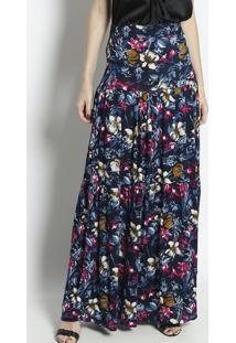 Saia Longa Floral - Azul Marinho & Rosa - Linho Finolinho Fino