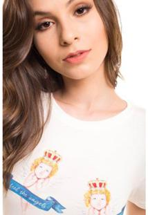Camiseta Daniela Cristina Anjo Feminina - Feminino-Branco