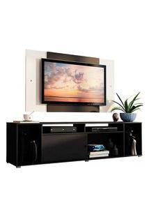 Rack Madesa Cancun E Painel Para Tv Até 58 Polegadas Preto/Branco 8N73 Preto