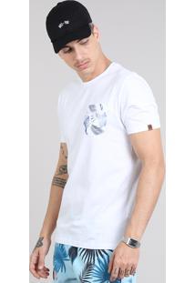 Camiseta Masculina Com Bolso Estampado Floral Manga Curta Gola Careca Branca