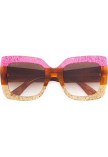 Gucci Eyewear Óculos De Sol Oversized - Rosa