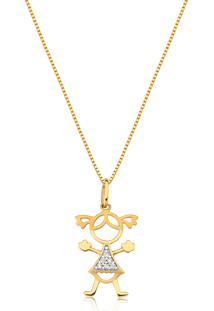 Pingente De Ouro 18K Menina Com Diamantes Rodinados-Coleção Picollos