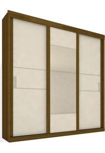 Armário 03 Portas De Correr Com Espelho, Nogueira Com Branco, Lux