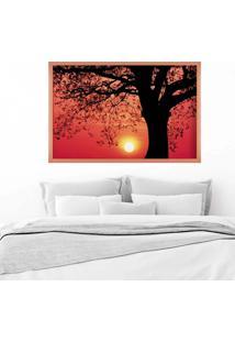 Quadro Love Decor Com Moldura Savana Sunset Rose Metalizado Médio