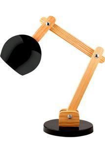 Luminária De Mesa Para 1 Lâmpada Bivolt Bola Preta