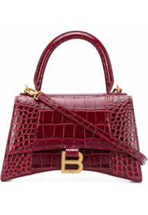 Balenciaga Bolsa Hourglass B Com Logo - Vermelho