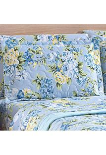 Porta Travesseiro Matelasse Micropercal Floral Azul