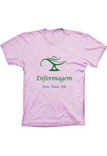 Camiseta Baby Look Lu Geek Enfermagem Rosa