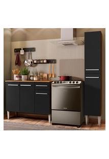 Cozinha Compacta Madesa Emilly Silver Com Balcáo E Paneleiro - Rustic/Preto Marrom