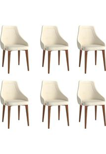 Conjunto Com 6 Cadeiras De Jantar Evelyn Bege