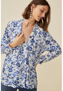 Blusa Amaro Manga Longa Estampada Decote V Floral Azulejo - Azul - Feminino - Dafiti